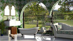 Bagno in marmo verde e oro